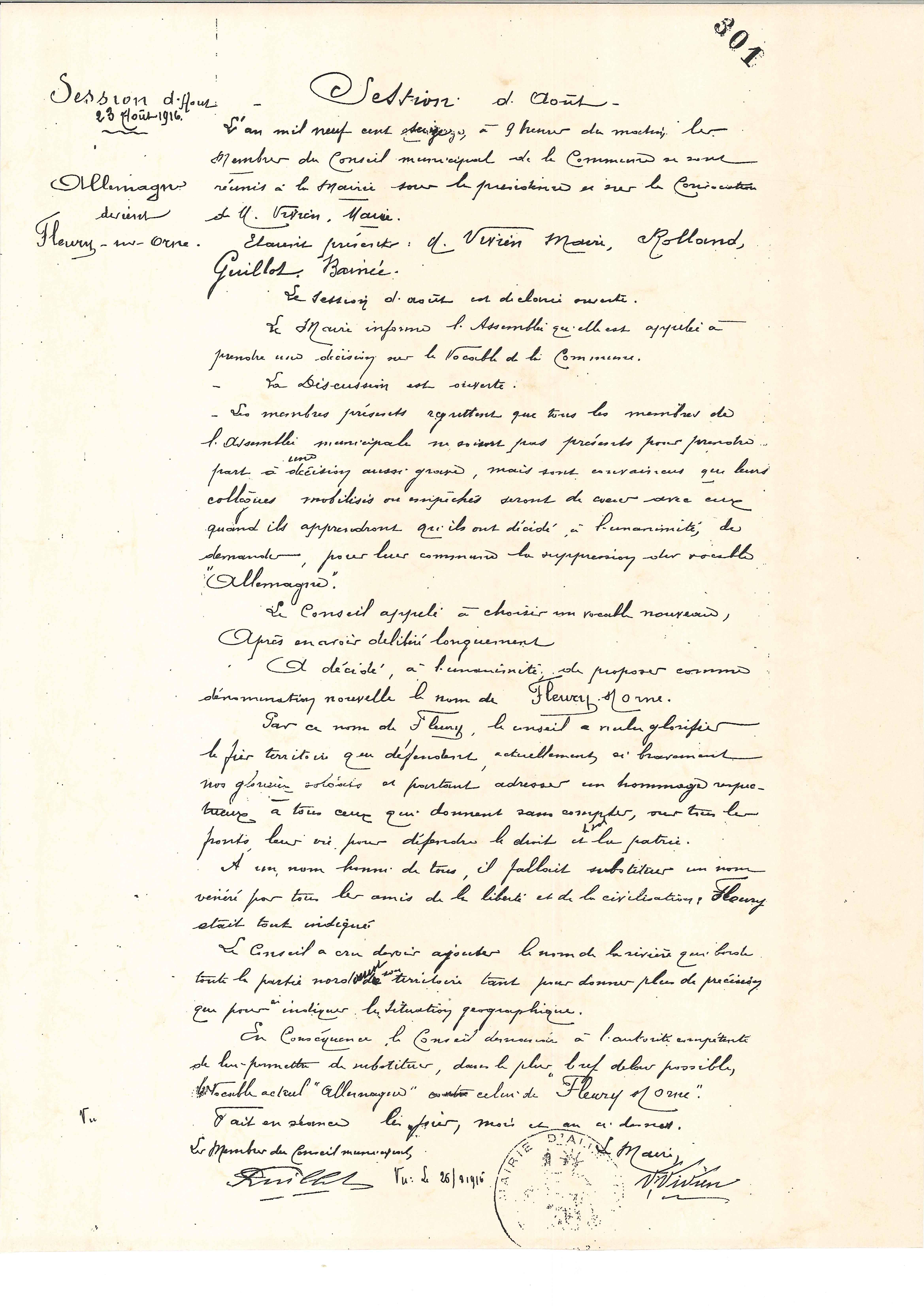 Délibération changement de nom du 23 août 1916